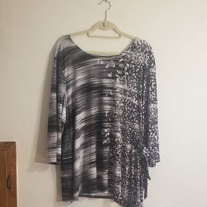 Side-tie Black and white multiprint top